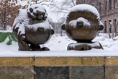 Sally & Linus & snow, St Paul MN (Lorie Shaull) Tags: stpaul minnesota mn snow charlesschulz peanuts sculpture peanutscharacters tivolitoo landmarkplaza linusvanpelt winter bronzestatue