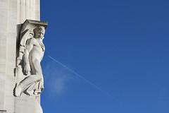 Striking at the heart (Peter Denton) Tags: ajjayres arthurayres sculpture sky sculptor artdeco portlandstone contemplation aircraft contrail london city bluesky england adelphi building ©peterdenton
