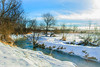 Wintry (Pedro1742) Tags: creek snow winter trees blue sky clouds water astoundingimage