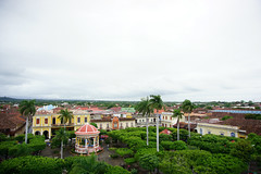 City View DSC01482 (ShellyBonoan) Tags: granada spanish colonial town nicaragua park square central view day overcast parque bell tower catedral gathering catholic traditional colorful palm trees gazebo