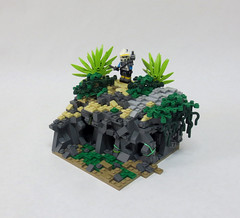 Mission 10.2 (Jalexanderhutchins) Tags: cularin lego 253rd clone jungle rocks foliage terrain sand plants knife mission 10 caves chaos