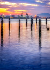 Seashore Seascape At Sunrise Magic Hour. (Ah Wei (Lung Wei)) Tags: penang penangisland georgetown pulaupinang malaysia georgetownpenang my sunrises sunrise sunset sunsets landscape shore clouds seashore seascape nikon50mmf18g 50mmf18g nikond750 nikon ahweilungwei penangferry magichour