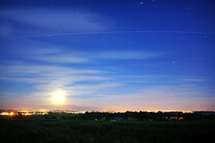 ISS.  Full path across the night sky (Andy Coe) Tags: england sky moon station night stars long exposure space south yorkshire full international iss rotherham rawmarsh trailo