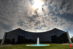 Fermilab Feynman Computing Center (Mark Kaletka) Tags: panorama fountain photoshop canon fcc illinois il fisheye 7d batavia fermilab hdr highdynamicrange feynman photomatix ferminationalacceleratorcenter