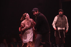 "(L to R) Leah Horowitz, Jordan Bondurant and Bob Amaral as Hodel, Perchik and Tevye in the Music Circus production of ""Fiddler on the Roof"" at the Wells Fargo Pavilion Aug 14-19. Photo by Charr Crail."
