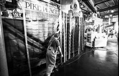 Closing up the fish market (deanfuller2) Tags: seattle bw film monochrome analog 35mm minolta pikeplacemarket maxxum7 kentmere minolta20mmf28 sal20f28 notpikesplace