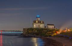 Rose Island July 4TH 2015 397.jpg (jlucierphoto) Tags: ocean sky lighthouse beach night lights bay lighthouses dusk bonfire newport narragansett