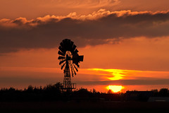 The Melting Sun (parkerbernd) Tags: old trees light sunset red sky sun windmill silhouette clouds germany landscape lumix evening fantastic melting rooftops panasonic explore american fehmarn gx1 fluegge