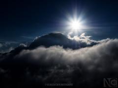 Climbing The Clouds (Nicholas Chewy) Tags: light sunset bali panorama mountain clouds sunrise trekking canon sumatra indonesia volcano java mt hiking olympus east climbing mountaineering lombok omd rinjani em5