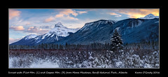 Sunset with Pilot Mountain (L) and Copper Mountain (R) from Moose Meadows, Banff National Park, Alberta (kgogrady) Tags: landscape winter banff alberta canada canadianrockies clouds canadianmountains fujifilm cans2s fujinon afternoon albertalandscapes canadianrockieslanscape canadiannationalparks banffnationalpark canadianlandscapes ab 2016 westerncanada trees xt1 fujifilmxt1 bushes bowvalleyparkway moosemeadows panorama parkscanada pilotmountain mountains nopeople peaks noone coppermountain pano sunset snow xf1655mmf28rlmwr