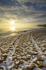 sunrise on sand and snow (Barbara A. White) Tags: sunrise constancebay beach snow tracks vertical landscape ottawariver canada