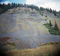 road past emerald lake (lawatt) Tags: road slope scree mountain rmbl gothic colorado film 120 portra diana f