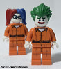 Cellmates (WattyBricks) Tags: dc comics superheroes lego joker harley quinn harlene quinzel gotham batman tlbm arkham asylum jail orange