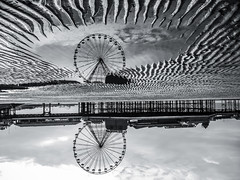 Central Pier Blackpool (cycletravels) Tags: a reflected view central pier blackpool flipped vertical bnw monochrome split tone mono black white ferris wheel lancashire england uk summer travel holiday tourism