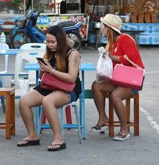 66 (SadCire) Tags: woman frau femme mujer girl thigh tattoo legs short street candid sexy asian denim jeans
