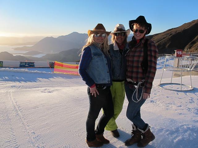 Treble Cone staff Katie Bennett, Hannah Cotterill & Carol Burbury