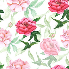 Seamless pattern with pink peony on white background (gorobina) Tags: pink red summer wallpaper white plant abstract flower green art nature floral beauty rose illustration vintage watercolor painting botanical design leaf spring flora colorful branch pattern graphic natural blossom feminine background decoration valentine peony retro petal growth ornament invitation repetition bloom backdrop romantic bouquet curl curve soulful isolated seamless repeat