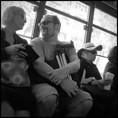 smile (abking09) Tags: sanfrancisco california street people blackandwhite white black public monochrome smile square candid muni transportation allanking