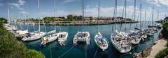Boats at Anchor Near Ciutadella de Menorca for Festes de Sant Joan (Roger Green) Tags: panorama boats yachts menorca ciutadella balearics festesdesantjoan