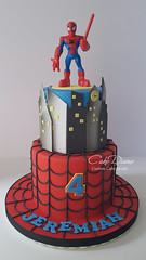 Spiderman for Jeremiah (Cake Diane Custom Cake Studio (eyedewcakes)) Tags: birthday boy cake toy cityscape child web spiderman superhero fondant tiered
