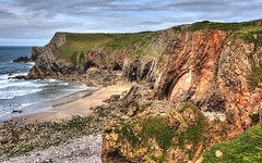 2015_07_12_6D0367 Castlemartin East (ElizFlickr) Tags: sea cliff beach rock wales bay coast sand waves limestone laughter pembrokeshire sirbenfro bullslaughterbay pembrokeshirecoastnationalpark castlemartin parccenedlaetholarfordirpenfro