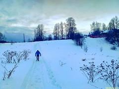 Саша прет по снежной целине, укатанной снегоходами.