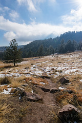 Flatirons Path (Siklos Photography) Tags: flatirons mountains smokey clouds trees outdoors tree line grass path walkway trail dirt stones rocks colorado cold
