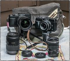 E-P5 Travel Set (NoJuan) Tags: olympus microfourthirds micro43 mft olympusep5 cameraporn cameraportrait domke domkef5xb camerabag whatsinthebag gordy gordystraps