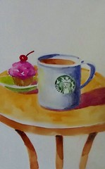 COFFEE AND A CUPCAKE (BonnieBuchananKingry) Tags: paintings watercolor watercolorpainting coffee cup mug cupcake cherry starbucks table dish