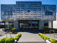 We've All Done Our Metalwork Homework Sir (Steve Taylor (Photography)) Tags: metalwork art architecture building office metal newzealand nz southisland canterbury christchurch cbd city box curve lines perspective pattern sunny sunshine