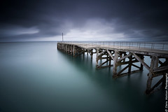 (Claire Hutton) Tags: trefor llynpeninsula north wales sea water pier jetty broken bent wood wooden dark overcast weather le longexposure milky smooth desaturated