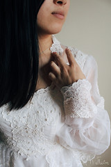 lace (Jolie-Laide Photography) Tags: weddingdress vintage vintagedress lace lacedress whitedress naturallight sunlight morning jolielaide jolielaidephotography model beading delicate
