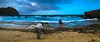 The Master And Her Students (guillermo_romero) Tags: sky pictureinapicture kauai landscape sandybeach kapow clouds secretbeach man island ladies wavescrashing rockybeach photographyworkshop waves