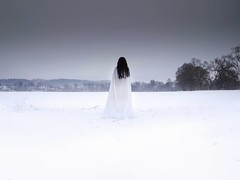 Self-Portrait (amanecer334) Tags: poland white winter polish woman girl nature shadow contrast black brunette selfportrait mood polska snow people landscape art