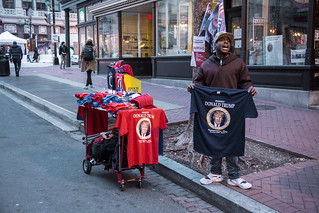 A Street Vendor Sells T-Shirts Outside the Presidential Inauguration of Donald Trump