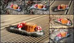 Trunk and Shrooms (Midnight Hoots) Tags: needle felted needlefelted felt animals wildlife nature cute soft wool handmade craft crafts crafted handcrafted art 3d