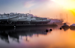 Harbour Sunrise (Anthony White) Tags: christchurch england unitedkingdom gb boats winter orange orangesunrise sunlight february nature longexposure day morning riverstour stour