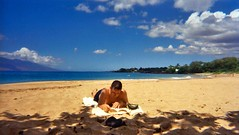 Maui Book (butter in the sun) Tags: ocean camera beach reading hawaii book bluesky maui tropical disposable
