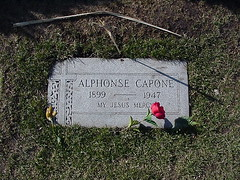 Al Capone's Grave (mrbaseball2usa) Tags: vacation chicago flower cemetery grave graveyard rose illinois gangster al cross buried headstone cigar il mob hillside mobster plot mafia alcapone gravesite cookcounty scarface alphonse capone mtcarmel chicagoil burialplot mountcarmelcemetery myjesusmercy alphonsecapone hillsideil alcaponesgrave alscarfacecapone funeralplot