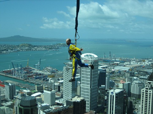 Auckland Sky Tower. Sky Jump from the Sky Tower in