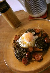 Poached Egg on Chorizo (LiseMac) Tags: wood house home breakfast yummy apartment yum flat tea homemade chorizo teapot treat oliveoil coaster mmmm peppergrinder blackpudding poachedegg davaar themeoftheweek granarytoast pyrexplate chorizosausage chorizojuice veggiefor6yrs