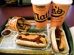 nathan's famous hotdog (Csbr) Tags: 2005 city travel winter food newyork island restaurant hotdog december famous contest lemonade gourmet coney canonixus400 nathans