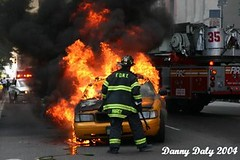 taxi cab explosion on cpw nyc 2004 (dannydalypix) Tags: new york city nyc newyorkcity ny newyork fire flickr centralpark manhattan cab taxi photograph danny fireman taxicab cpw daly dannydaly