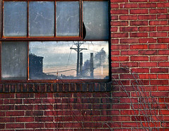 Heinz Reflection (Matt Niemi) Tags: reflection brick window wall pittsburgh cityscape powerlines stripdistrict heinzplant acmebananacompany