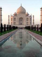 Taj Mahal Evening Reflection (Lazy B) Tags: india reflection water evening tomb tajmahal agra 2006 mausoleum february fz5 indianarchive 123travel