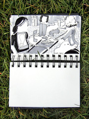 Le djeuner sur l'herbe (striatic) Tags: portrait canada abstract grass lunch sketch photo emily day bc leo outdoor britishcolumbia group 2006 sketchbook victoria pizza micheala hideout ledjeunersurlherbe andrewsplace ledejeunersurlherbe mygoodimages