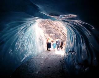 Under the huge mass of blue ice glacier  .