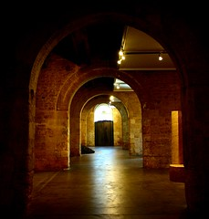 Again, again and again (Christine Lebrasseur) Tags: light brown france art museum architecture canon way 350d gold poetry quote contemporary bordeaux tunnel arches wharf warehouses questfortherest interestingness25 entreptsducapc superhearts allrightsreservedchristinelebrasseur