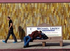 Laws of Motion (See El Photo) Tags: sleeping people 15fav signs man bus male sign bench walking person michael pattern sleep walk stranger busstop sidewalk jeans tired signage resting 500views 3f teeshirt 700views labrea coolshoes 1f faved blueshoes 2f 333v3f 111v1f redcurb crub whensthatdangbusgoingtacome