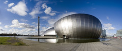 Glasgow Science Centre Panoramic (ajnabeee) Tags: tower architecture clouds scotland glasgow landmark science secc imax sciencecentre glasgowsciencecentre bbcscotland